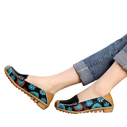 WHENOW Women's Comfortable Slip On Boat Ballet Flat Shoes Driving Shoes Pregnant Women Shoes Black EU 38(US 7.5)