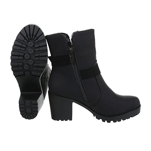 Zapatos para mujer Botas Tacón ancho Classic Botines Ital-Design Negro
