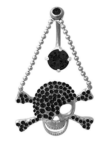 (Black Skull Crossbones Dangle Reverse Top Mount Belly button navel ring piercing bar body jewelry)