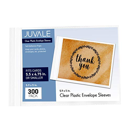 Juvale 300-Pack Clear Plastic Envelope Bags, Greeting Card Sleeves, 6 x 5 Inches