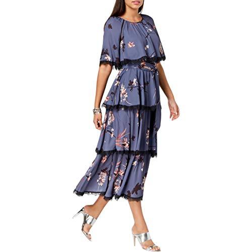 - Avec Les Filles Junior's Tiered Floral Dress with Lace Trim, Blue/Multi, 2