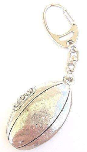 Rugby Ball Handcrafted from Solid Pewter In the UK Key Ring 59mm Button Badge Gift Bag