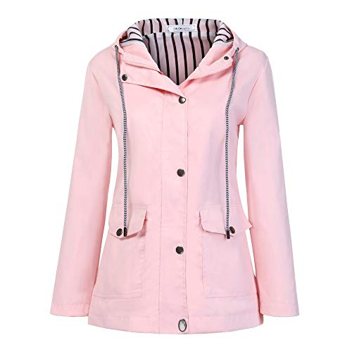 Keepmove Coat for Women Winter Sale, Women Solid Rain Jacket Outdoor Plus Waterproof Hooded Raincoat Windproof(Pink-a, X-Large)
