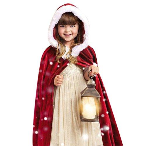 Alixyz Kids Boy Girl Christmas Costume Santa Flannel Hooded Cosplay Cloak Cape Robe (Length: 84cm/33.0, Red)