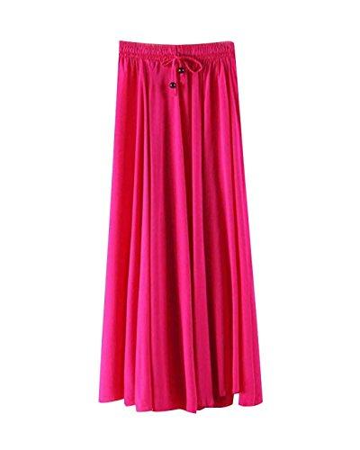 6 lastique Cordon Mi Longue Line Pure Vintage Femme Plisse Color Taille t Jupe A Couleur tH6qxq