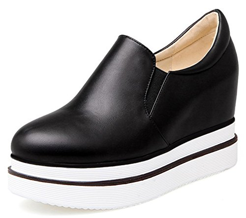 IDIFU Women's Casual Low Top Slip On Platform Sneakers High Hidden Heels Wedge Loafers Shoes Black 4 B(M) US by IDIFU