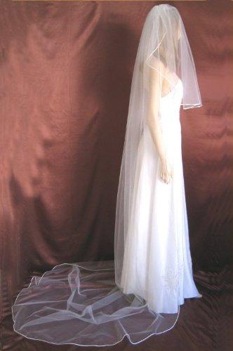 Bridal Wedding Veil Diamond Off White 2 Tier Long Cathedral Length Pencil Edge