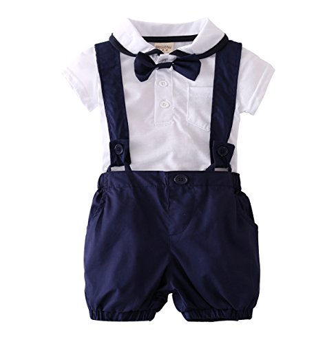 Baby Boys Short Sleeve Gentleman T-shirt Overalls Clothes Set with Tie (18-24 (Baby Short Sleeve T-shirt)