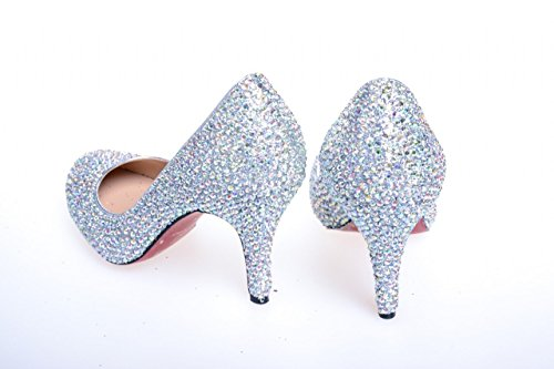 Sliver Women's Shoes High High Dress SS002 Bridal Clearbridal Prom Rhinestone Wedding Sliver Heel Heel Pumps for Party 10CM Evening 05qdwI