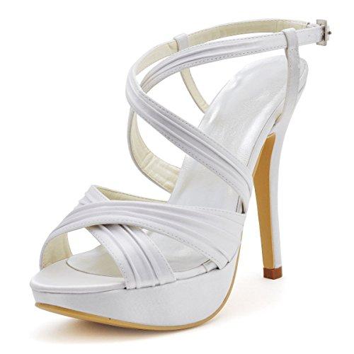 Pf Slingback Sandal (Elegantpark EP2123-PF White Women's Open Toe Platform Stiletto High Heel Pleated Slingback Buckles Satin Bride Wedding Sandals US 7)