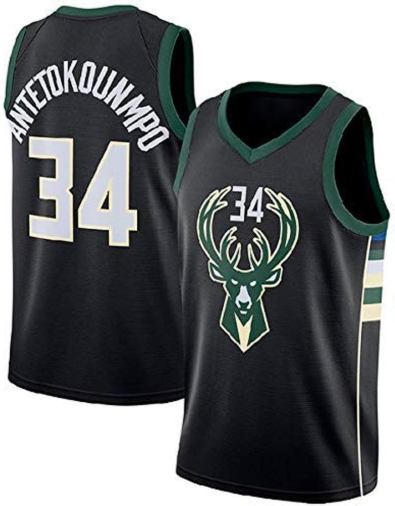 WOLFIRE SC Camiseta de Baloncesto para Hombre, NBA, Milwaukee Bucks #34 Giannis Antetokounmpo. Bordado, Transpirable y Resistente al Desgaste Camiseta para Fan (Negra, L): Amazon.es: Deportes y aire libre