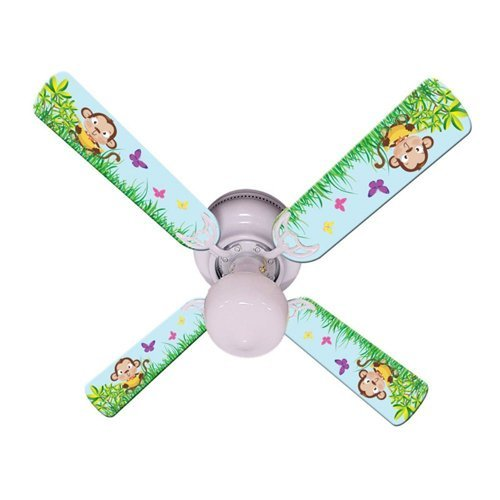 Ceiling Fan Designers Ceiling Fan, Baby Monkey Mischief With Banana, 42''