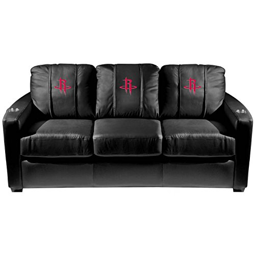 XZipit NBA Silver Sofa with Houston Rockets Logo Panel, Black