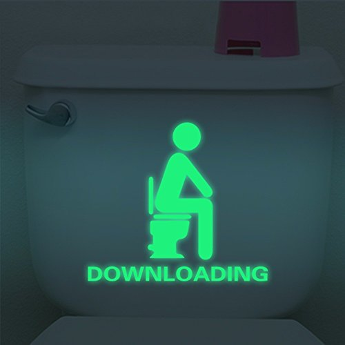 Wall Art - Honana Dx-014 15x20cm Fluorescent Glow Toilet Wall Sticker Room Thinking Downloading - Fluorescent Toilet Sticker Removable Sound Proofing Cafe Wall Decals Stickers - For Kitchen - 1PCs