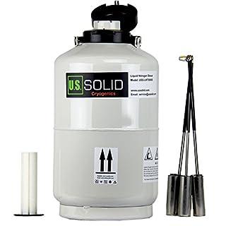 US SOLID Liquid Nitrogen Dewar 10L Cryogenic Container Liquid Nitrogen LN2 Tank Dewar with Straps 6 Canisters