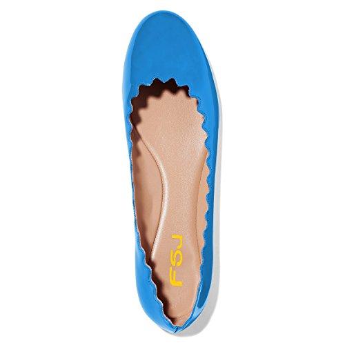 Fsj Donne Comode Scarpette Da Ginnastica Punta Rotonda Pompe Impermeabili Slip On Balletto Scarpe Taglia 4-15 Us Blu