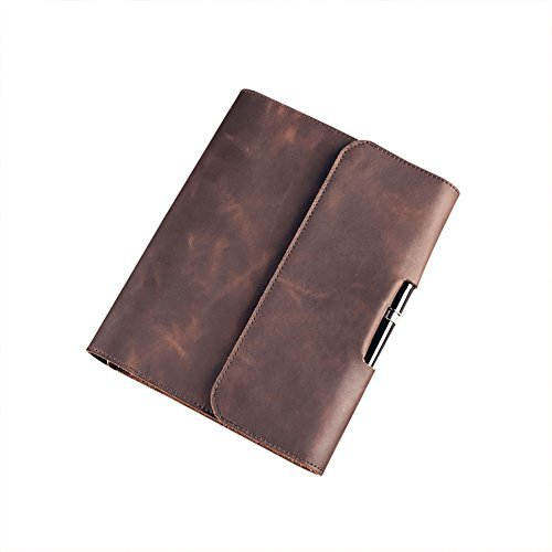 ZE Handmade Luxury Genuine Leather Portfolio 6-Ring A5 Size Loose-Leaf Notebook(Dark (Deluxe Leather Photo Album)