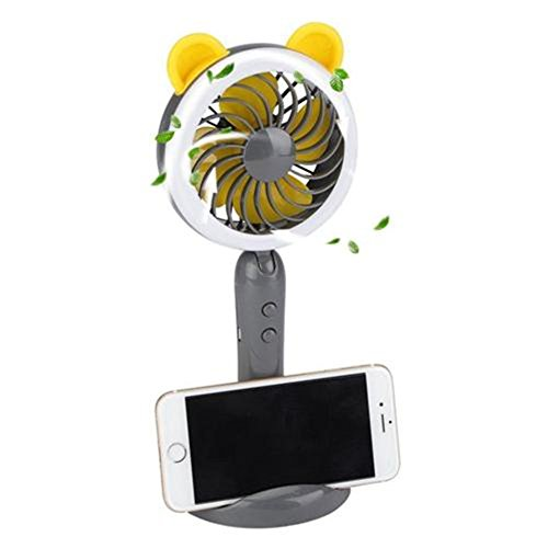 Handheld Fan,MontoSun USB Desk Fan Rechargeable Battery Operated Portable Personal Mini Fan with Phone Holder, 2 Speed LED Light Design for Home Office Household Outdoor Travel(Gray)