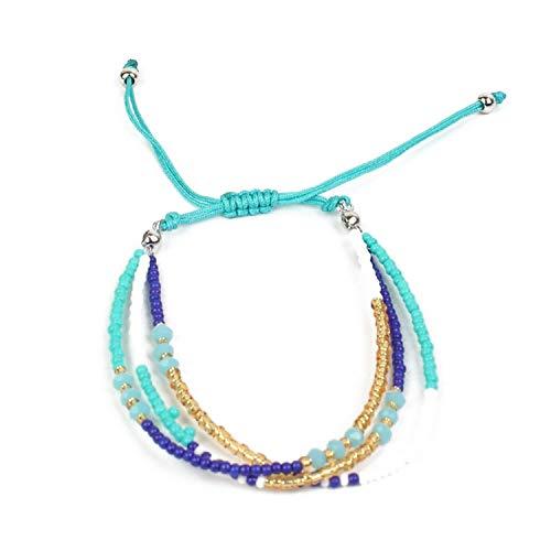 TILLY ANDERSON Bohemian Handmade Braid Adjustable Rope Chain Bracelets Multilayer Crystal Strand Beads Bracelet for Women Girl Ethnic Jewelry,E