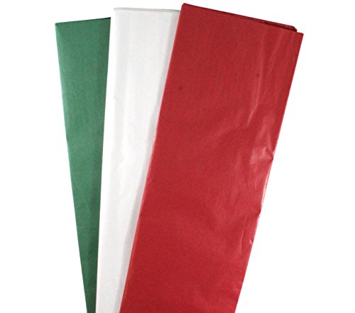 150-Sheets Tissue Paper Christmas Assortment 150-Sheets 20'' x 20'' - 50 each Red, Green & White by BW Intertrade