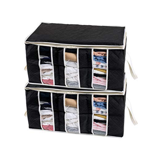 Woffit Foldable Storage Bag Organizers, 3 Sections, Clear Window & Carry Handles, Great for Clothes, Blankets, Towels, Winter & Summer Clothing, Closets, Bedrooms, Under Bed & More