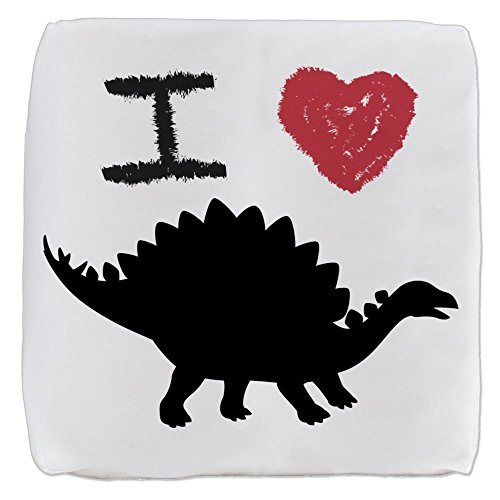 18 Inch 6-Sided Cube Ottoman I Love Dinosaurs - Stegosaurus by Truly Teague