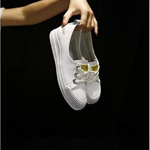 donna piatto Nappa ZHZNVX Estate chiusa pelle in Comfort argento Scarpe Primavera Punta Gold oro da Sneakers Tacco EqtPt