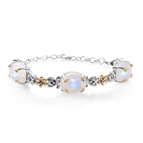 Rainbow Moonstone Iolite 14K YG and Platinum Plated Sterling Silver Bracelet 7.50 In