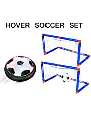 Hover Soccer Ball, Air Power Soccer Ball with LED Lights, Children Toys Training Football Indoor Outdoor with 2 Gates, Indoor Outdoor Training Football Sports Toy Gift for Boys