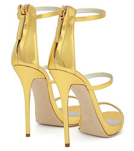 Size Q Toe Sandals High Amy Big Dress Handmade Open Light Party Shoes Women's Heel Gold 8YYwd