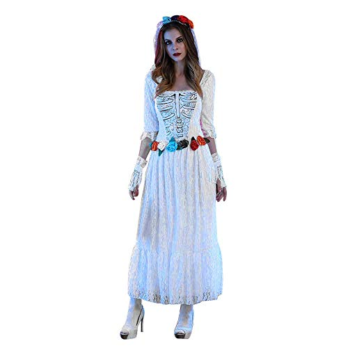 NREALY Women's Sexy White Lace Corpse Bride Dress Halloween Cosplay Party Costume(2XL, White) -