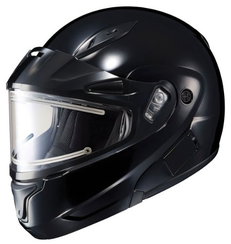 HJC CL-Max 2 Solid Bluetooth Ready Modular Snowmobile Helmet with Electric Shield - Black, XXXX-Large Electric Snowmobile Shield