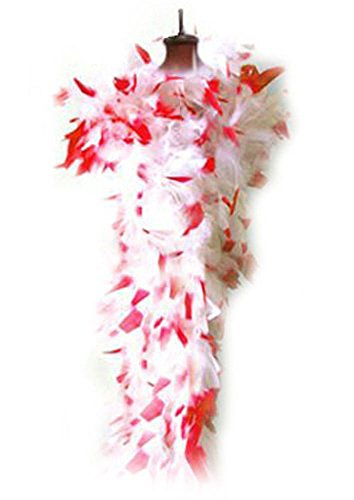 SACASUSA (TM) Feather Chandelle Boa 6 feet long (White w/Red Tips)