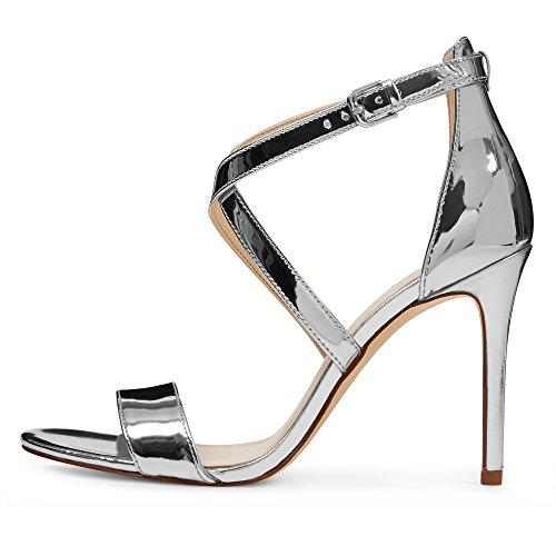 Strap Shoes Cross Dress Ankle Toe Heeled Sandals EDEFS High Silver Open Womens qwURFU
