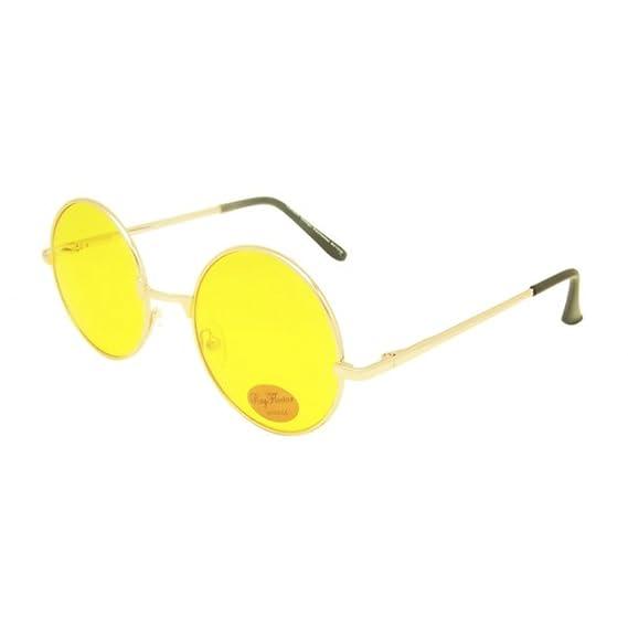 Sonnenbrille Unisex Rund Hippie Brille John Lennon getönt 400UV langer Steg orange gold dQZjYd4