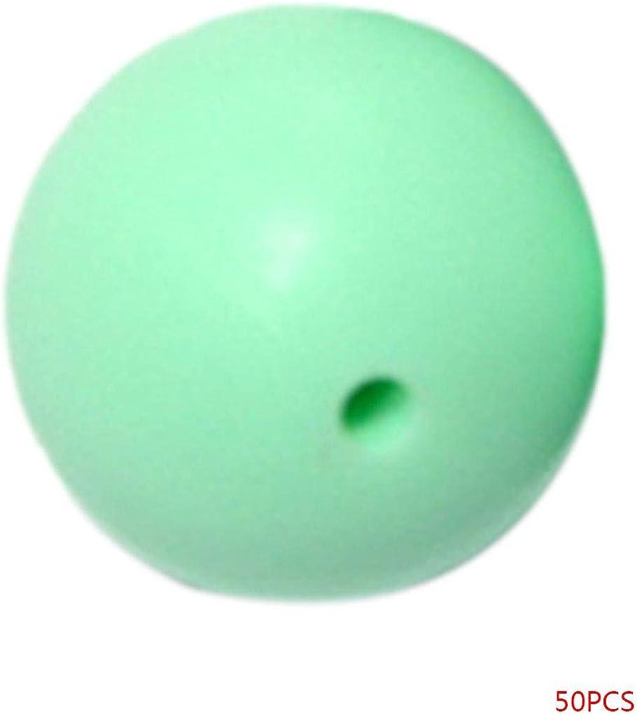 Beaums Perles Silicone 50pcs de qualit/é Alimentaire 12mm Eco-Friendly Collier Teething b/éb/é Fournitures de Bijoux Bricolage