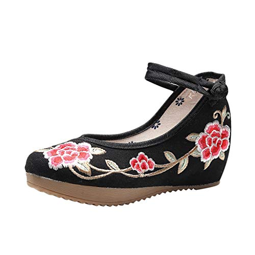 Toimothcn Embroidered Canvas Shoes Women Vintage Ankle Double Strap Ethnic Shoes (Black2,US:5.5)