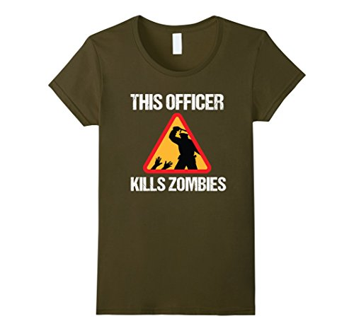 Zombie Police Costume Womens (Womens Police VS Zombies T-Shirt for Halloween Costume Tee XL Olive)