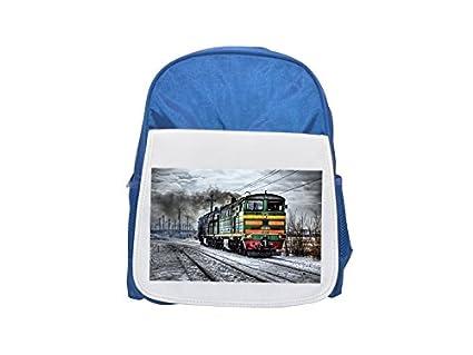 Locomotora, Diesel, Rusia, tren Impreso Kid s azul mochila, para mochilas