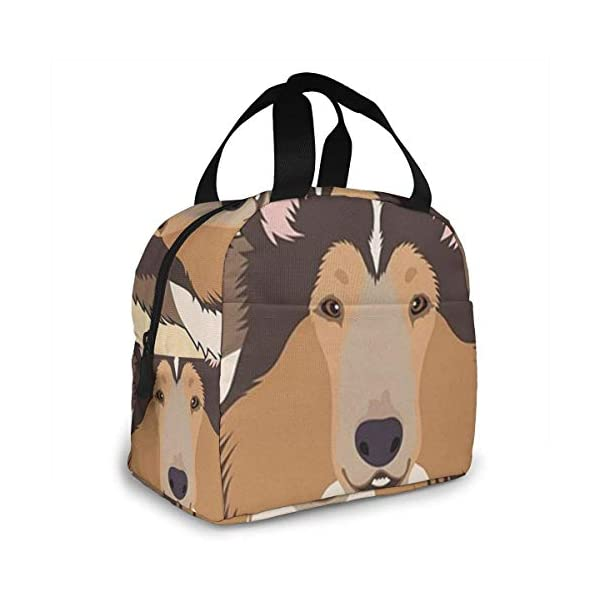 Rough Collie Portable Insulated Lunch Bag Workers Students Simple and Elegant Portable Insulation Lunch Bag 2