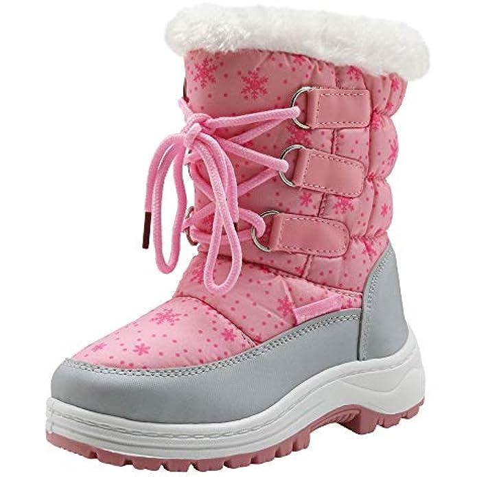 Apakowa Kids Girls Insulated Fur Winter Warm Snow Boots (Toddler/Little)