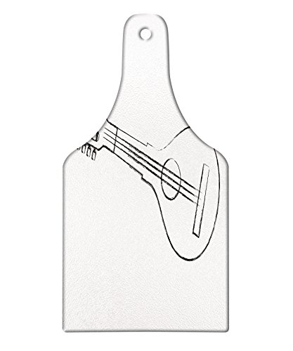 Lunarable Mandolin Cutting Board, Traditional Country Music Themed Art Sketchy Equipment Festival Celebration, Decorative Tempered Glass Cutting and Serving Board, Wine Bottle Shape, Black and White