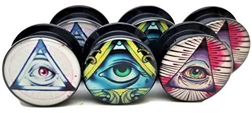 Pierced Republic 3 Pairs! 3 Different Illuminati Pyramid & Eye Designs Ear Plugs - Acrylic Screw-On - New - 8 Sizes - 3 Pairs (00 Gauge (10mm)) (Design Plug Ear)