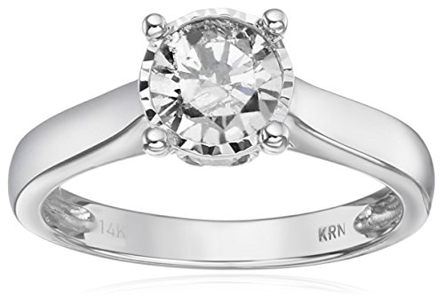 14k White Gold Solitaire Diamond Engagement Ring (1 carat, I-J Color, I2-I3 Clarity), Size 7 by Amazon Collection