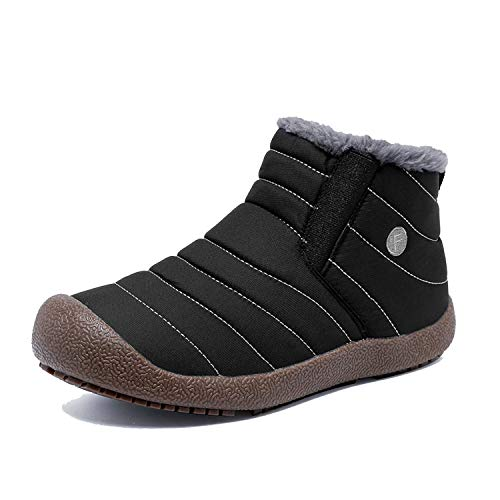 EXEBLUE Enly Winter Snow Boots Slip-on Water Resistant Booties for Men Women, Anti-Slip Lightweight Ankle Boots with Full Fur Black