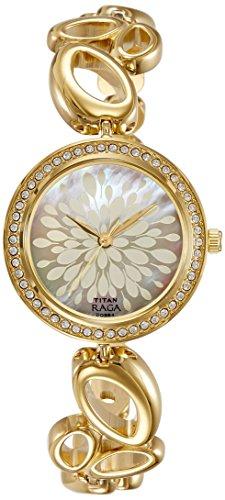 Style Gold Dial (Titan Raga Swarovski Crystal, Mother of Pearl Dial, Gold/Silver/Brass Metal, Jewellery Design, Bracelet Style, Designer, Quartz Glass, Water Resistant Wrist Watch)