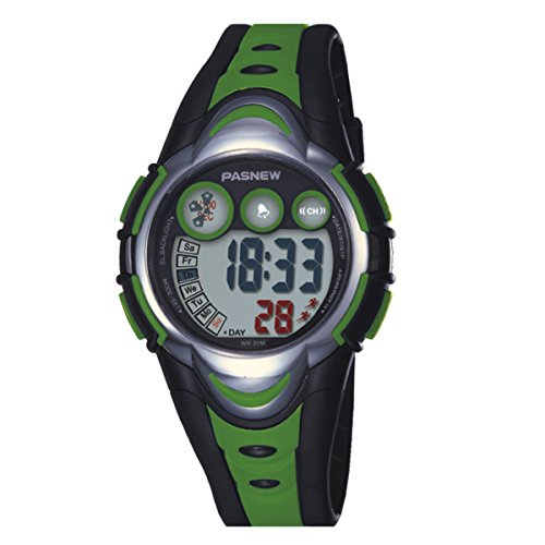 Price comparison product image BesWlz Kids Outdoors Sport Watch Led Light Digital Waterproof Watches for Boys Girls (Green)