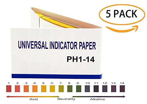 PH 1-14 test Paper,PH universal Indicator Paper for testing water quality/soil/urine/saliva/cosmetics,80 per pack(5 ()
