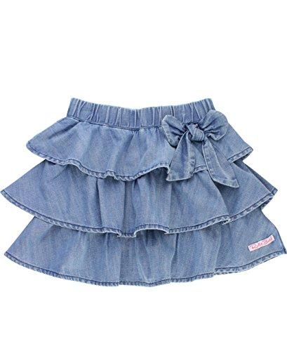 RuffleButts Girls Ruffled Denim Skirt With Bow - Light Wash Denim - (Make Denim Skirt)