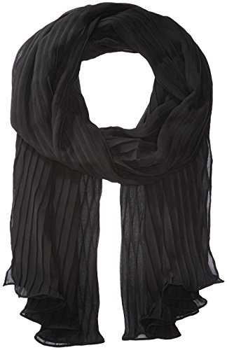 Steve Madden Women's Solid GEORETTE Pleated Evening WRAP, Black, One Size